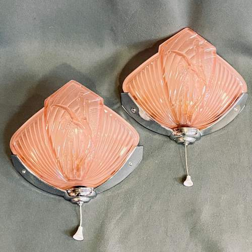 Pair of 1930s Art Deco Wall Lights by Nesdam image-1