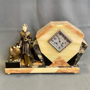 Art Deco Marble Clock with Lady and Dog Figure