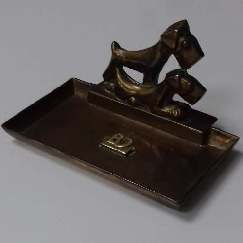 Art Deco Brass Scottie Dog Pin Tray image-2