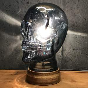 Vintage Glass Skull Repurposed into a Great Lamp