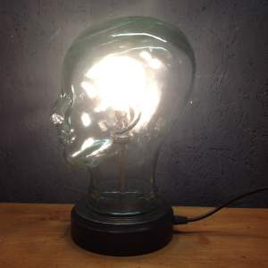 Vintage Glass Mannequin Head Repurposed into a Great Lamp