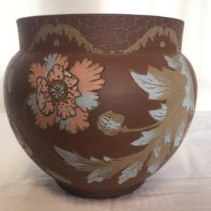 Art Pottery Jardiniere decorated by Calvert and Lovatts Langley Ware