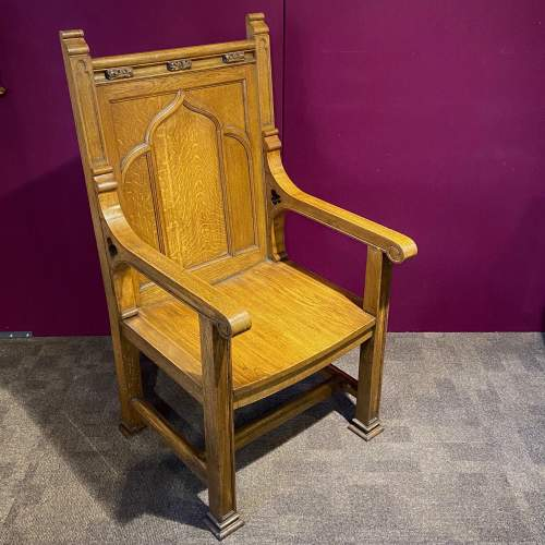 Large Ecclesiastical Oak Alter Chair image-1