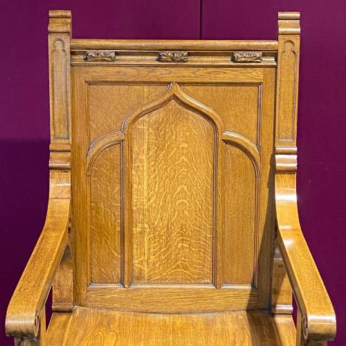 Large Ecclesiastical Oak Alter Chair image-2