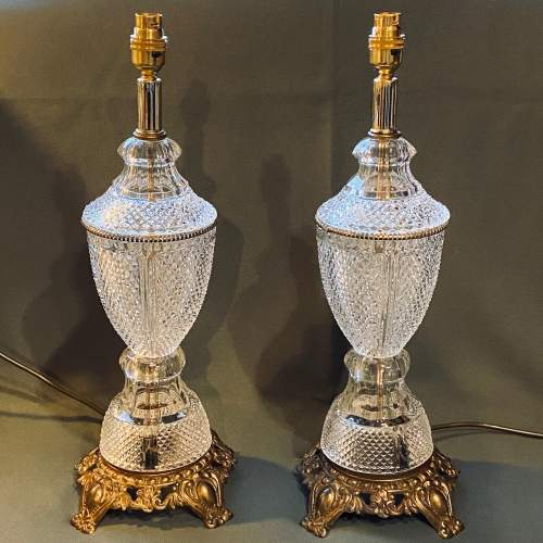 Impressive Pair of American Crystal Table Lamps image-1