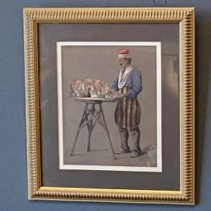 Pastel Drawing of a Perfume Seller