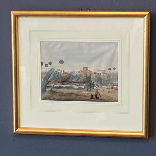 Anglo Indian School Watercolour Landscape Scene image-1