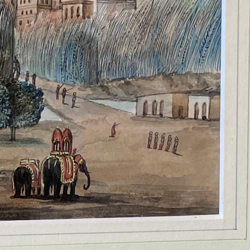 Anglo Indian School Watercolour Landscape Scene image-4
