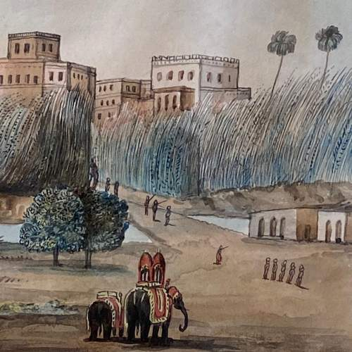 Anglo Indian School Watercolour Landscape Scene image-3
