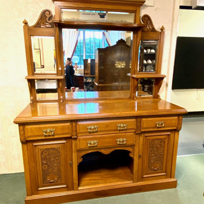 19th Century Mirrorback Oak Dresser