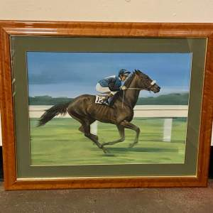 Graham Turner Oil on Canvas of a Horse and Jockey