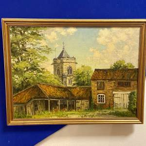 Clive Richard Browne Oil on Board of Old Waltham