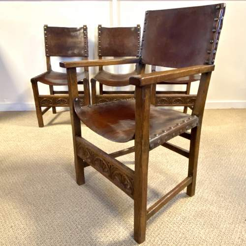 Arts and Crafts Set of Four Leather Chairs image-4