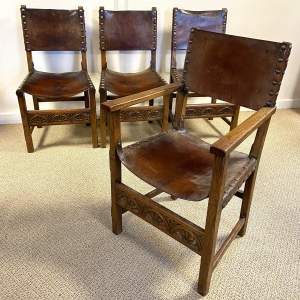 Arts and Crafts Set of Four Leather Chairs
