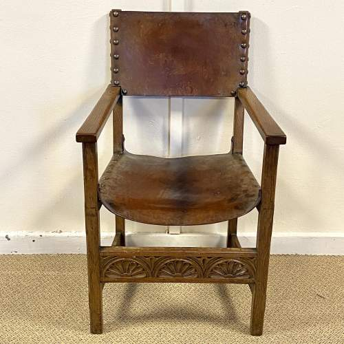 Arts and Crafts Set of Four Leather Chairs image-5