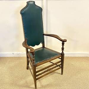 Green Upholstered Gothic Revival Chair