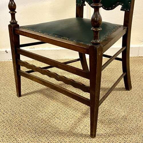 Green Upholstered Gothic Revival Chair image-5