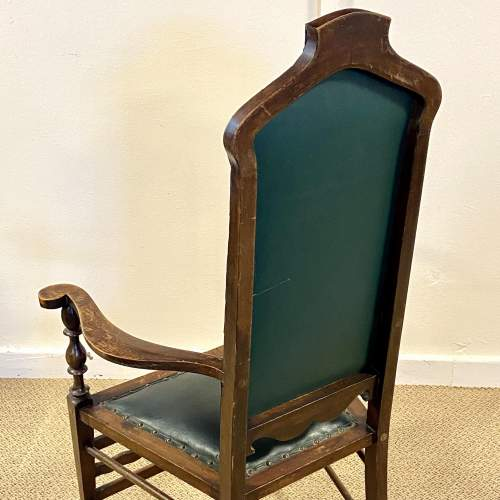 Green Upholstered Gothic Revival Chair image-4