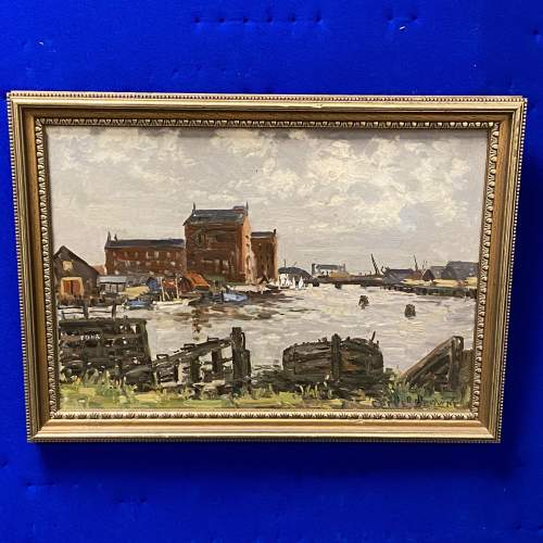 Clive Richard Browne Oil on Board Painting of Alexandra Dock Grimsby image-1