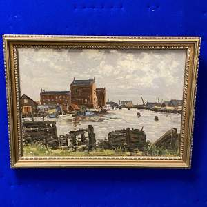 Clive Richard Browne Oil on Board Painting of Alexandra Dock Grimsby