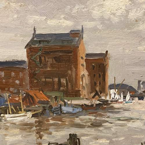 Clive Richard Browne Oil on Board Painting of Alexandra Dock Grimsby image-2