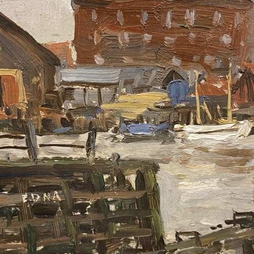 Clive Richard Browne Oil on Board Painting of Alexandra Dock Grimsby image-3