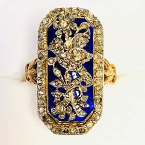 Georgian Highly Decorative 18ct Gold Enamel and Diamond Ring