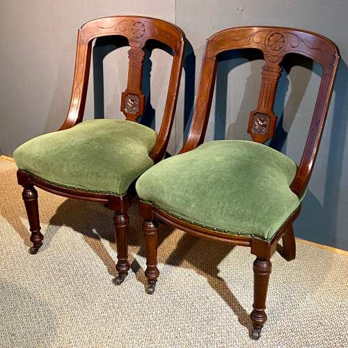 Pair of Heavy 19th Century Upholstered Mahogany Dining Chairs image-1