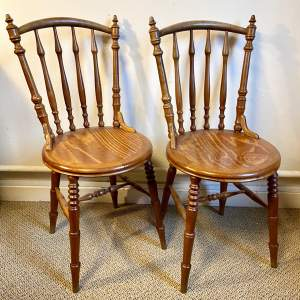 Pair of Unusual French Pear Wood Bistro Chairs