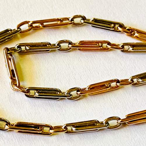Edwardian 18ct Gold and Platinum Watch Chain image-2