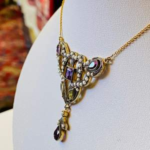Suffragette Vintage Gold Amethyst Peridot and Pearl Pendant