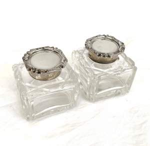 Pair of Edwardian Cut Glass and Silver Inkwells