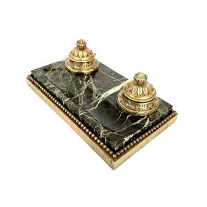 French Gilt Bronze and Marble Inkstand Circa 1900