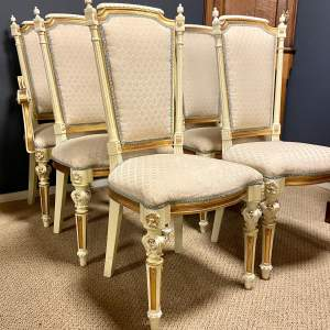 Set of Four Decorative Cream Painted Dining Chairs