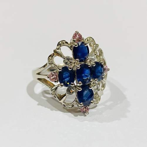Vintage 9ct Gold Diamond and Sapphire Ring image-1