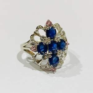 Vintage 9ct Gold Diamond and Sapphire Ring