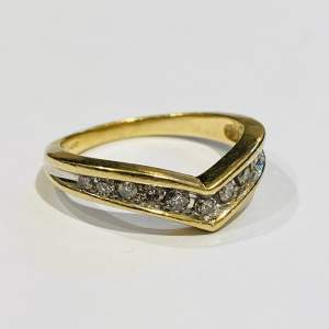 9ct Gold Vintage Shaped Diamond Ring