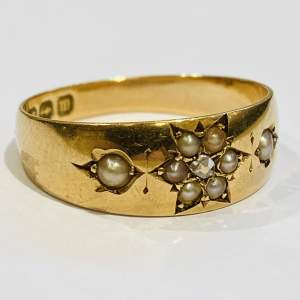 19th Century 15ct Gold Diamond and Pearl Ring
