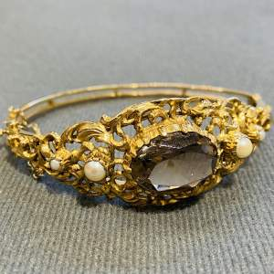 Vintage 9ct Gold Smokey Quartz and Cultured Pearl Bangle