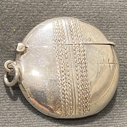 Edwardian Silver Cricket Ball Vesta Case image-2