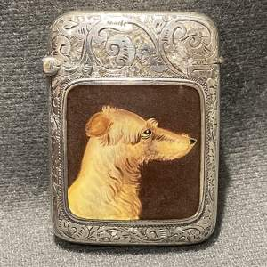 Victorian Silver and Enamel Vesta with a Lurcher Dog Portait