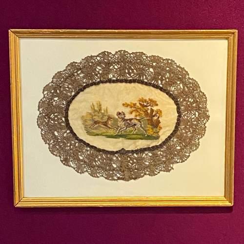 19th Century Hunting Scene Lace Panel image-1