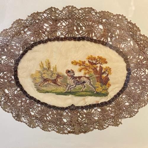 19th Century Hunting Scene Lace Panel image-2