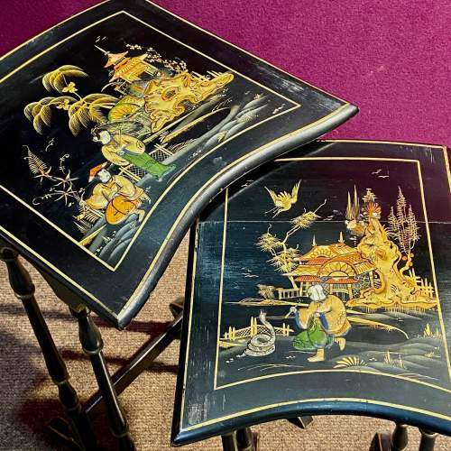 Edwardian Nest of Four Chinoiserie Decorated Tables image-4