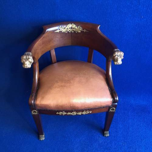 French Mahogany Framed Desk Chair image-2