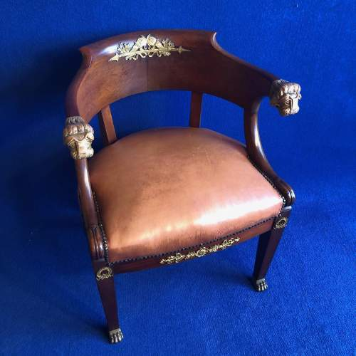 French Mahogany Framed Desk Chair image-1