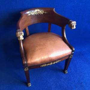 French Mahogany Framed Desk Chair