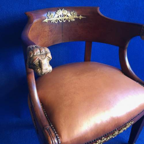French Mahogany Framed Desk Chair image-3