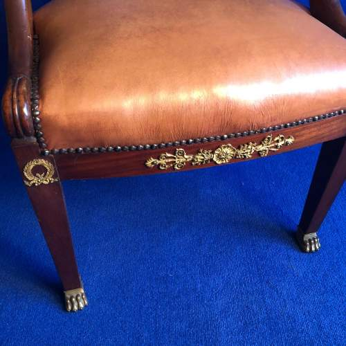 French Mahogany Framed Desk Chair image-4