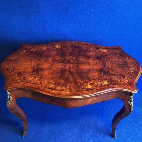French Inlaid Walnut Centre Table image-2